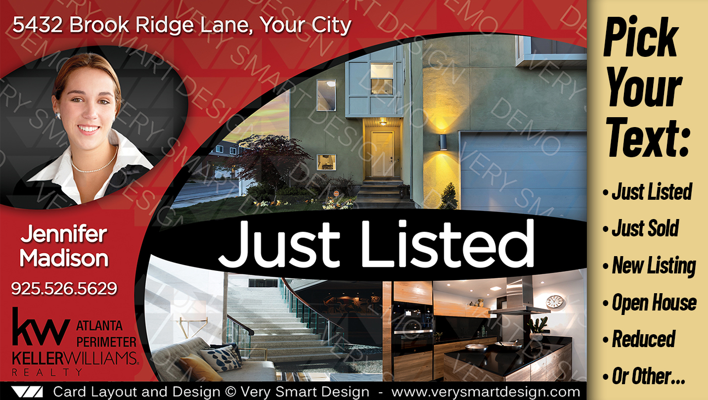 brand new just listed keller williams postcards for real estate