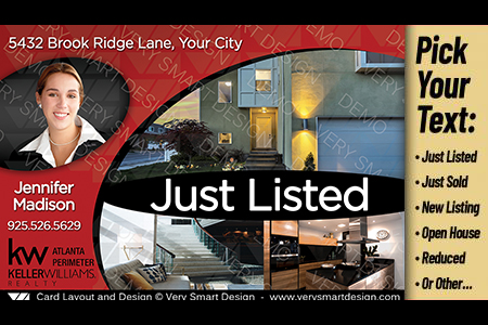 new keller williams postcards just listed template real estate 2a