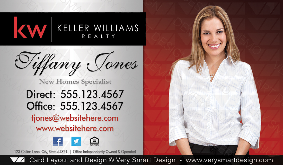 Keller Williams Business Card Templates | Custom Keller Williams Business Card Template 2e Red And Silver