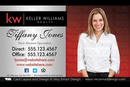 Keller williams real estate business card design 2a red and silver silver and red custom keller williams business card template 2e flashek Image collections