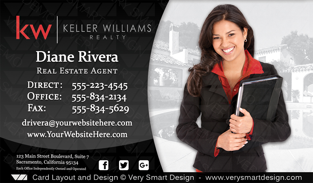 Keller williams real estate business card design 3d white and black black and white keller williams real estate business card design 3d reheart Choice Image