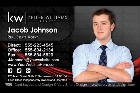 Keller williams team business cards for kw agents 7b black and silver black and red custom keller williams business card template for kw usa 7c accmission Image collections