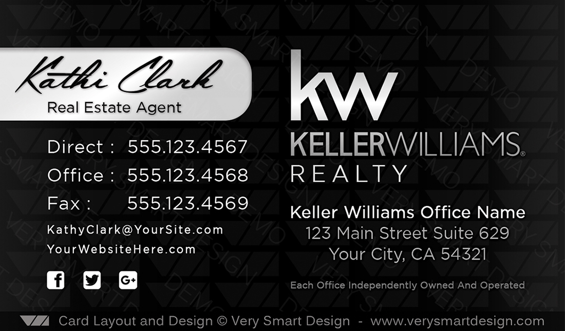Keller williams real estate agent business cards for kw agents 18a black and silver keller williams real estate agent business cards for kw agents 18a colourmoves