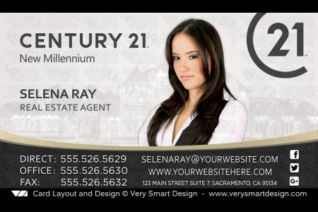 Century 21 real estate business cards with new c21 logo agents 11a white and gold century 21 realtor new logo business cards for c21 associates 1a friedricerecipe Images