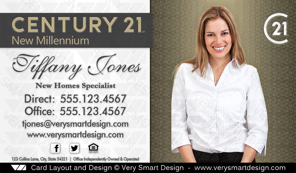 New Logo Century 21 Real Estate Agent Business Cards For C21 Agents