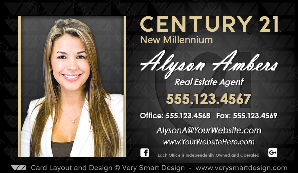 Century 21 Team Business Cards With New C21 Logo 5c Gold And Black