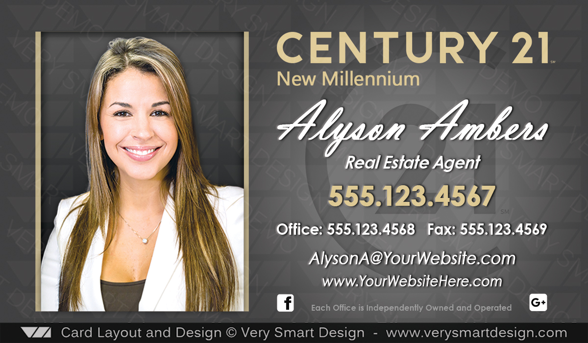 Custom Century Business Card Templates With New C Logo D Gold - Century 21 business card template