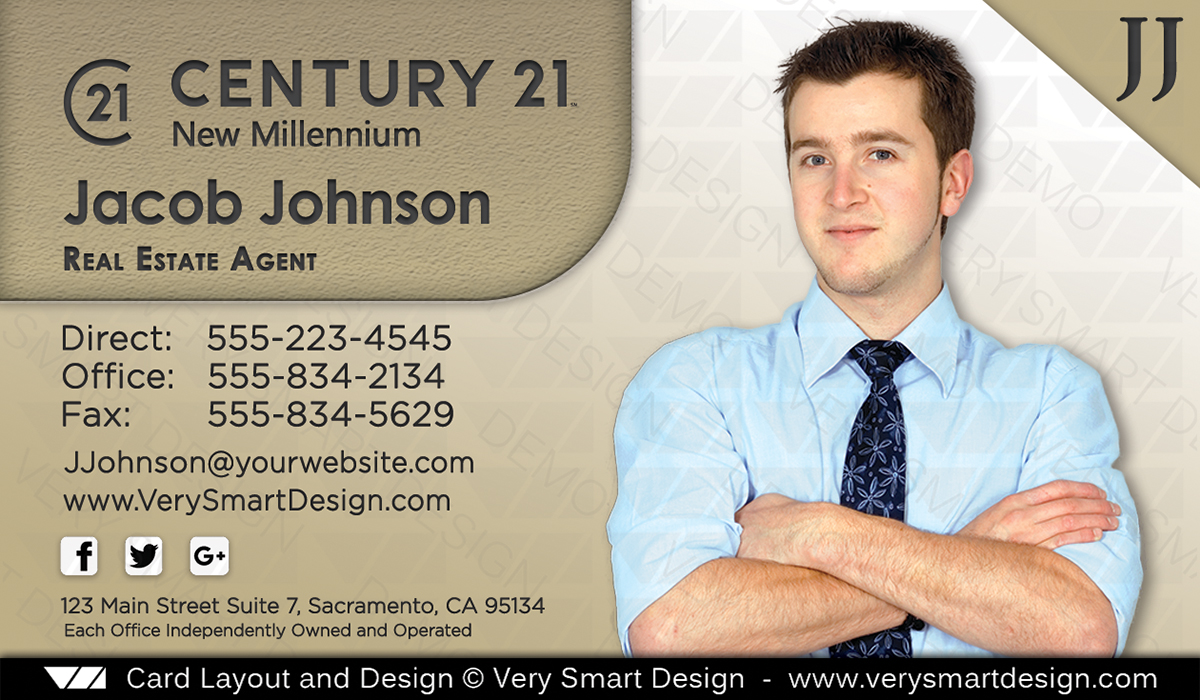 gold and white century 21 real estate business cards with new c21 logo agents 7b - Real Estate Business Cards