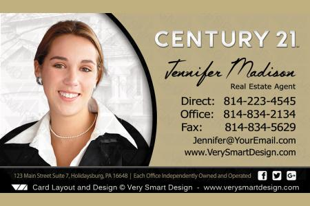 gold and white century 21 real estate business cards with new c21 logo agents 9b - Real Estate Business Cards