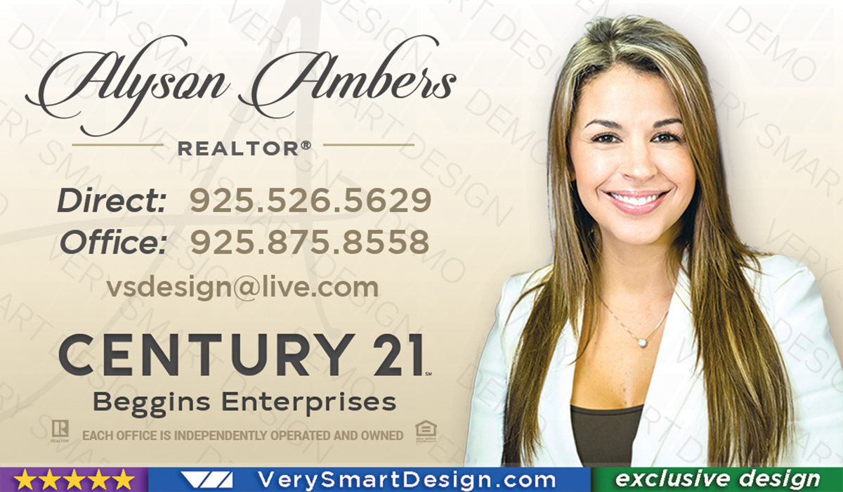 White And Gold New Logo Business Cards For Century 21 Real Estate Agents In USA 10C