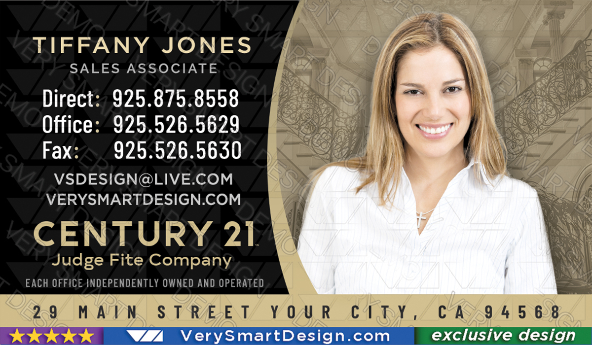 Century 21 realtor new logo business cards for c21 associates 11b black and gold century 21 realtor new logo business cards for c21 associates 11b flashek Images