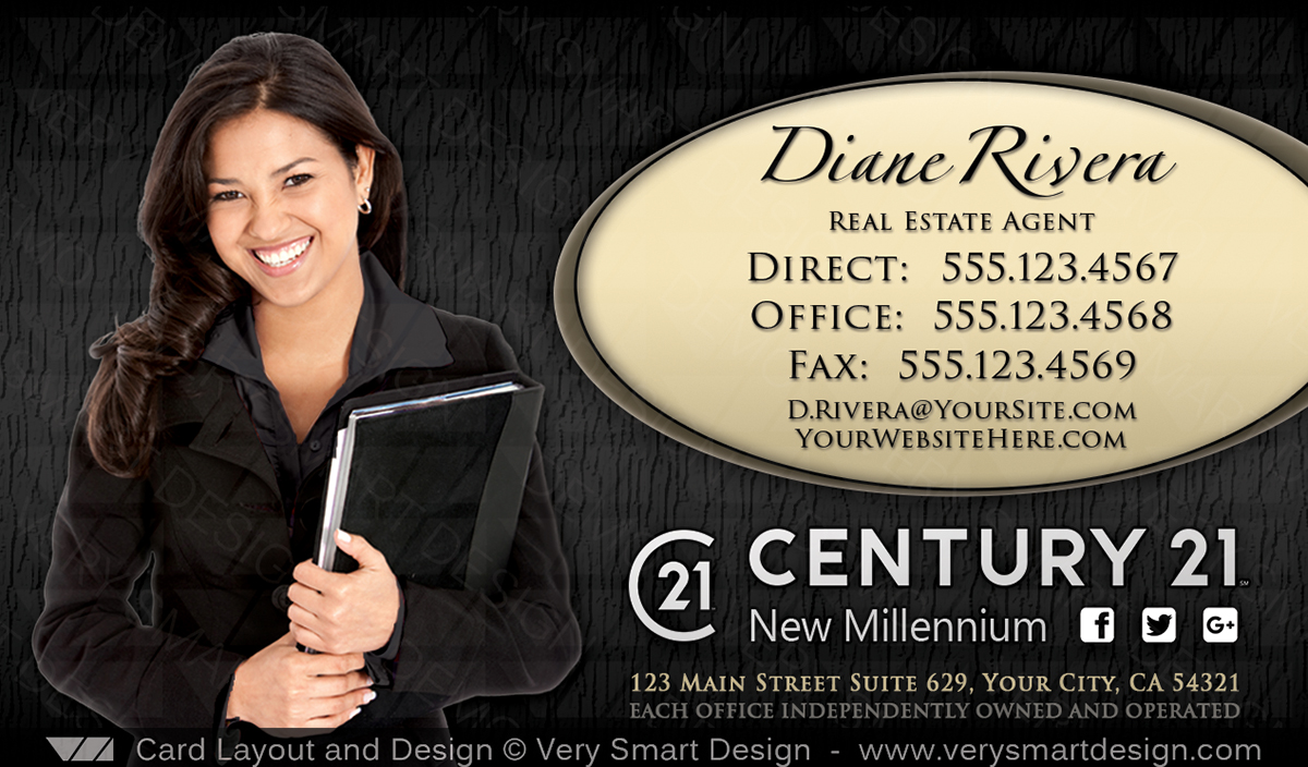 New C21 Logo Agent Real Estate Business Cards Century 21 Design 12a
