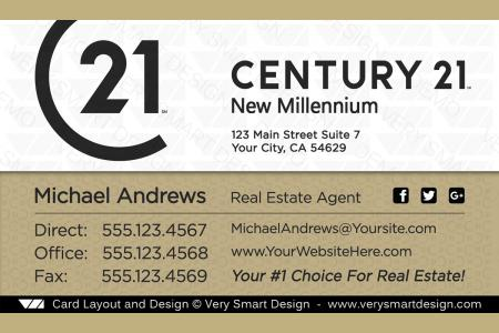 Century 21 real estate business cards with new c21 logo agents 16c white and gold custom century 21 new logo real estate business card designs for c21 16b flashek Image collections